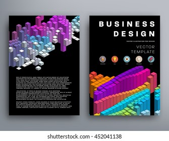 Geometric Cover Background, Brochure Template Layout for Annual Report or Business Design. A4 Booklet. Polygonal Structures. Vector Illustration.