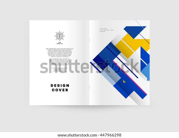 Geometric Cover Background, Brochure Template Layout for Annual Report or Business Design. A4 Booklet. Triangular or Polygonal Structures. Vector Illustration.