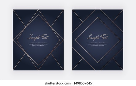 Geometric cover design with golden lines on the dark blue background. Template for wedding invitation, blog posts, banner, card, save the date, poster, flyer