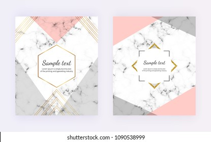 Geometric cover design with grey, pink triangles shapes, golden lines on the marble texture.  Modern templates for card, flyer, invitation, party, birthday, wedding, placard, brochure, banner