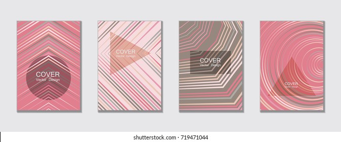 Geometric cover design template for annual report.  Trendy presentation templates. Abstract modern halftone lines grid vector background. Cover presentation on a4, advert, geometric shapes banner.