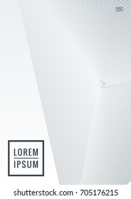Geometric cover. Line shape design. Minimal pattern. Abstract background for music bands. Stylish corporate flyer. Linear presentation template. Magazine minimalistic poster. Grey and white banner.