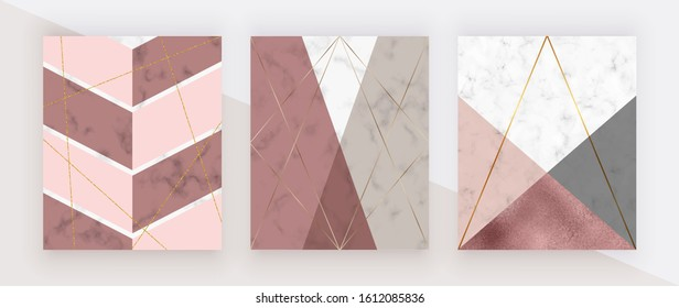 Geometric cover with pink, rose gold and grey triangular shapes, golden lines on the white marble texture. Modern backgrounds for menu, banner, card, flyer, invitation, product package, brochure.