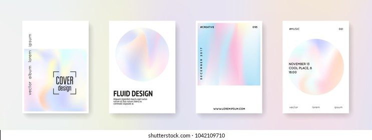 Geometric cover set. Abstract backgrounds. Trendy geometric cover with gradient mesh 90s, 80s retro style. Pearlescent graphic template for brochure, banner, wallpaper, mobile screen