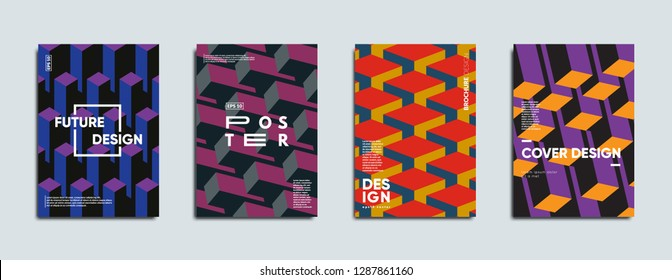 Geometric covers design. Swiss modernism. Eps10 vector.