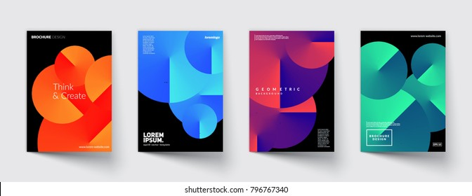 Geometric covers set. Round gradient shapes composition. Cool modern colors. Eps10vector.
