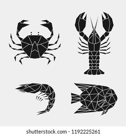 Geometric crab, lobster, shrimp, fish. Set of abstract black polygonal sea animals.. Stencil for cutting out. Vector illustration.