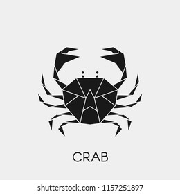 Geometric crab. Polygonal abstract black symbol of a marine animal. Stencil for cutting out. Vector illustration.