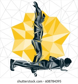 Geometric Crossfit concept. Burpee. Vector silhouette of man doing fitness and crossfit. Active and healthy life concept