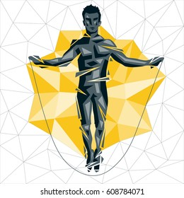 Geometric Crossfit concept. Rope Jumping. Vector silhouette of man doing fitness and crossfit. Active and healthy life concept