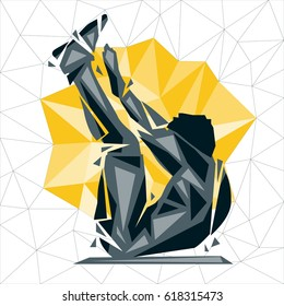 Geometric Crossfit concept. V situp. Vector silhouette of man doing fitness and crossfit. Active and healthy life concept