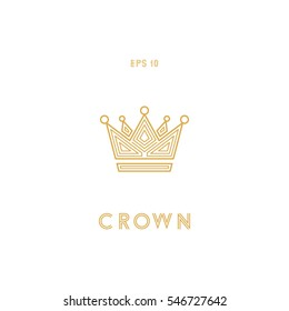 Geometric crown icon, line design, vector illustration isolated on white background