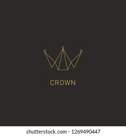 Geometric crown logo symbol in monoline simple abstract premium modern style