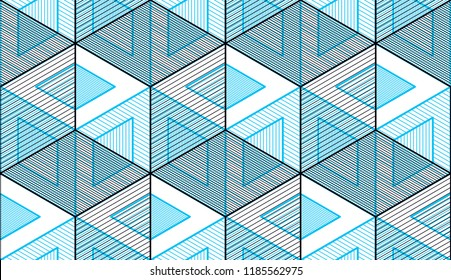 Geometric cubes abstract seamless pattern, 3d vector background. Technology style engineering line drawing endless illustration. Usable for fabric, wallpaper, wrapping, web and print.