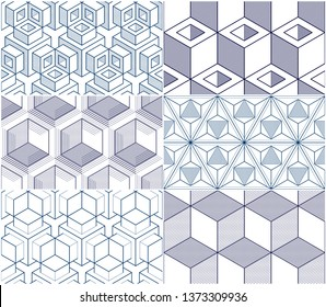 Geometric cubes abstract seamless patterns set, 3d vector backgrounds collection. Technology style engineering line drawing endless illustrations.