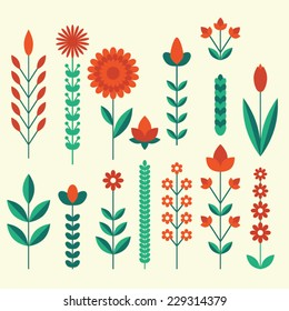geometric cute flower icons set leaves and grass