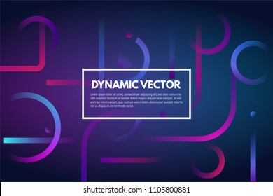 Geometric dark abstract gradient vector background. Lines and shapes with gradients. Violet and purple bright color gradients. Minimalist decoration for printing or web. EPS 10.