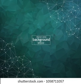 Geometric Dark Green Polygonal background molecule and communication. Connected lines with dots. Minimalism background. Concept of the science, chemistry, biology, medicine, technology.