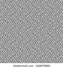 A geometric decorative pattern with wavy stripes or rhomboid shapes in tones of blue and ivory. Traditional ethnic motif. Vector illustration.