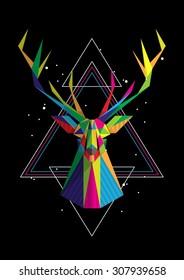Geometric deer head, colourful vector background