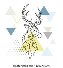 Geometric Deer silhouette on triangle background. Polygonal Deer emblem. Scandinavian style. Vector illustration.