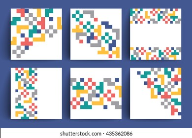 Geometric design backgrounds set. Pixelated vector ornaments. Applicable for covers, placards, posters, flyers and banner designs. Eps10 vector templates.