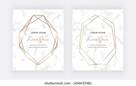 Geometric design cards with golden polygonal lines frames on the marble texture background. Trendy template for wedding, banner, wallpaper, flyer, poster, invitations.
