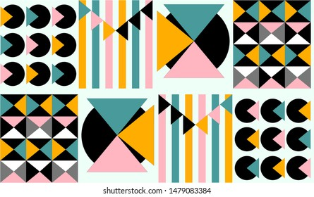 Geometric design consisting of mismatched patterns. Triangles, circles and straight lines. Colorful fabric - mustard yellow, teal green, pastel pink, black on white canvas. Resembles gift wrapping.