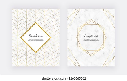 Geometric design with golden polygonal lines on the marble texture. Golden glitter polygonal frame. Modern templates for wedding invitation, banner, card, flyer, poster, save the date