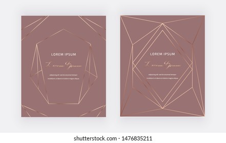 Geometric design golden polygonal lines and frames on the brown background. Trendy template for wedding, banner, wallpaper, flyer, poster, card, invitations.