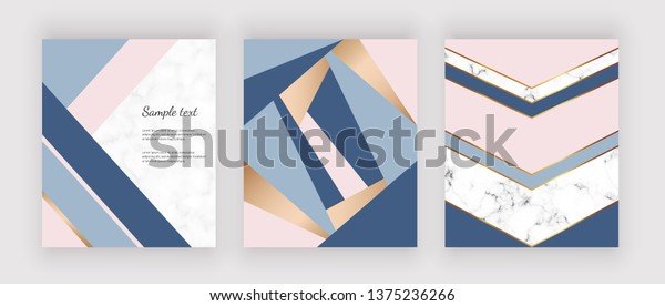 Geometric design on the marble texture. Pink, blue triangular shapes and golden lines. Background for brochure, wedding invitation, greeting, banner, flyer, poster, save the date, card