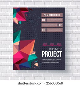 Geometric design template for a business project with triangular crystal points and editable text boxes hanging on a white brick wall, vector illustration