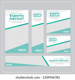 Geometric Design For Web banners of different standard sizes. Templates with place for photos, buttons. Vector illustration. Set.