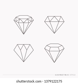 Geometric diamond design collection vector