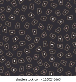 Geometric Ditsy Print in Browns, Hand Drawn Squares and Dots, Light Brown, Dark Brown, for Home Decor or Stationery