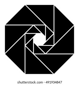 Geometric drawing with triangles, logo design element, shutter, diaphragm, vector illustration