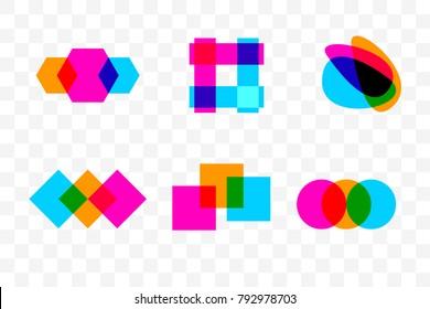 Geometric elements of logo. Overlapping colorful geometric shapes - circle, square, rhombus. Vector illustration