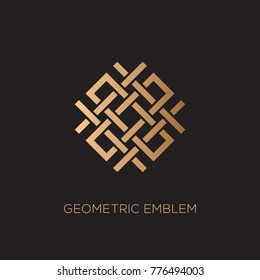 Geometric emblem template design with overlapping elements on a dark background. Vector illustration.