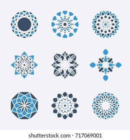 Geometric emblems set. Vector mosaic arabic ornamental symbols