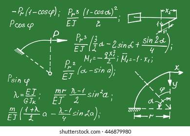 Geometric equations on school board. Vector hand-drawn illustration.