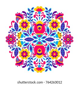 geometric ethnic decoration. Fashion mexican, navajo or aztec, native american ornament.  Colored vector design element for frame and border, textile, fabric or paper print. Vector illustration