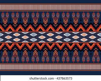 Geometric ethnic ikat pattern Oriental traditional Design for background,carpet,wallpaper,clothing,wrapping,fabric,Vector illustration.