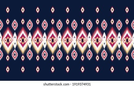 Geometric ethnic oriental ikat pattern traditional Design for background,carpet,wallpaper,clothing,wrapping,Batik,fabric,Vector illustration.embroidery style.