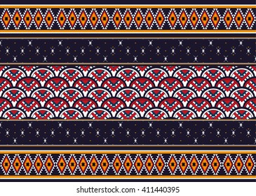 Geometric ethnic oriental pattern traditional Design for background,carpet,wallpaper,clothing,wrapping,fabric,Vector illustration.embroidery style.