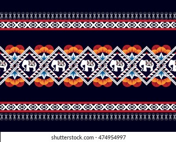Geometric ethnic oriental pattern traditional Design for background,carpet,wallpaper,clothing,wrapping,Batik,fabric,Vector illustration embroidery style.