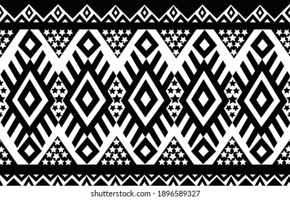 Geometric ethnic oriental seamless pattern traditional Design for background,carpet,wallpaper,clothing,wrapping,Batik,fabric,Vector,illustration,embroidery style.