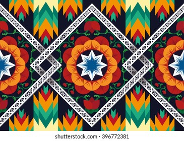 Geometric ethnic pattern Floral neck embroidery design for background,wallpaper,clothing and wrapping.