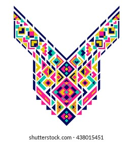 Geometric Ethnic pattern. Mexican and Aztec neck print. Chest tribal embroidery for cloth, embroidery, ethnic print for clothes. Vector illustration.