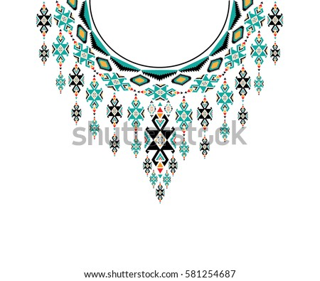 Geometric Ethnic Pattern Neck Embroidery Design Stock Vector