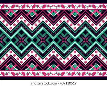 Geometric ethnic pattern Oriental traditional Design for background,carpet,wallpaper,clothing,wrapping,fabric,Vector illustration.